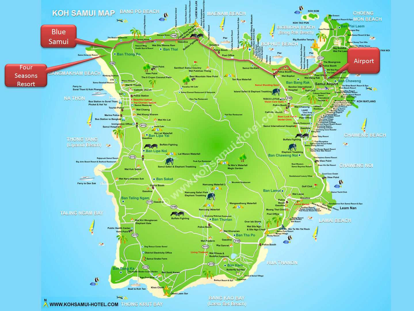Koh Samui Airport Map Airport Samui   Blue Samui Villa Koh Samui Thailand
